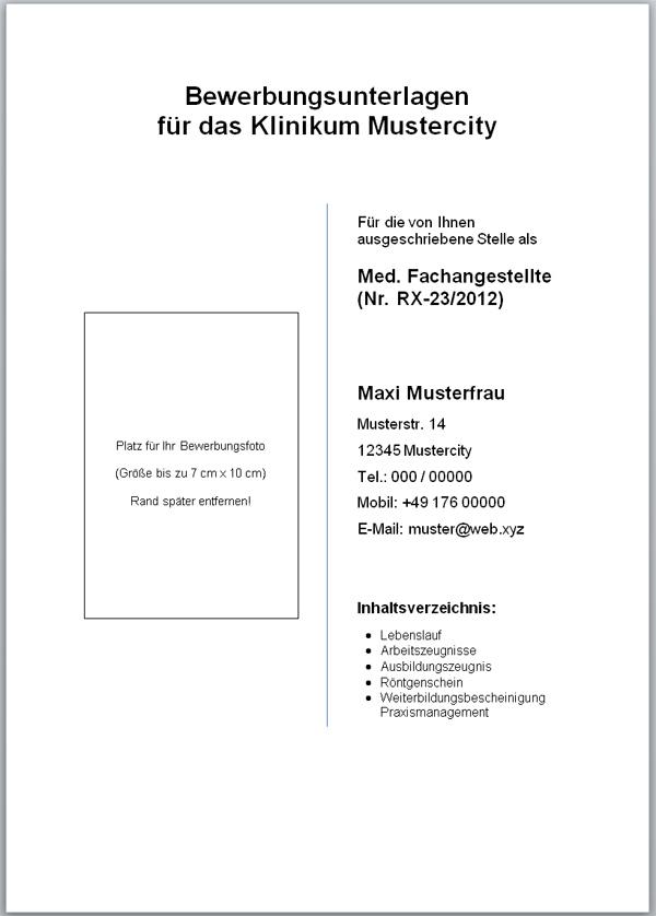 deckblatt vorlage fr bewerbung - Muster Deckblatt Bewerbung