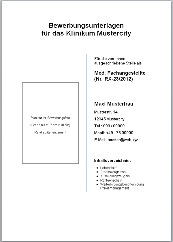 deckblatt vorlage fr bewerbung - Deckblatt Fr Bewerbung