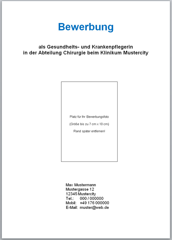 deckblatt fr bewerbung - Bewerbung Deckblatt Erstellen