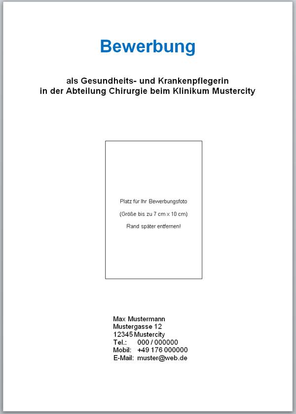 deckblatt fr bewerbung - Bewerbung Muster Deckblatt