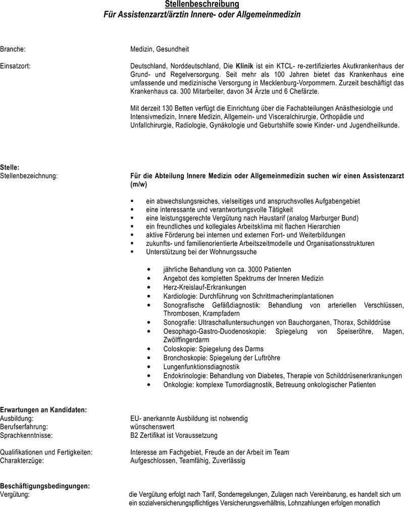 Stellenangebot Assistenzarztärztin Innere Oder Allgemeinmedizin