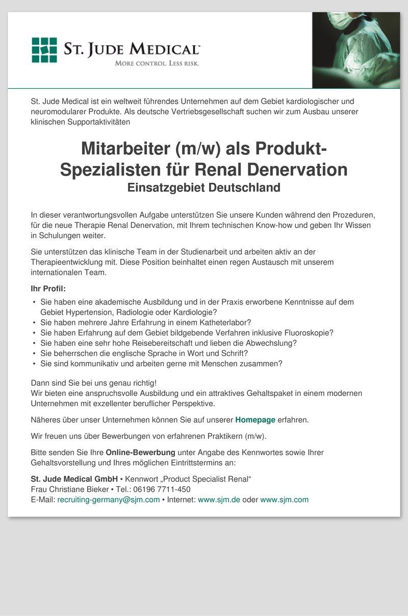 Stellenanzeige Mitarbeiter (m/w) als Produkt-Spezialisten für Renal  Denervation