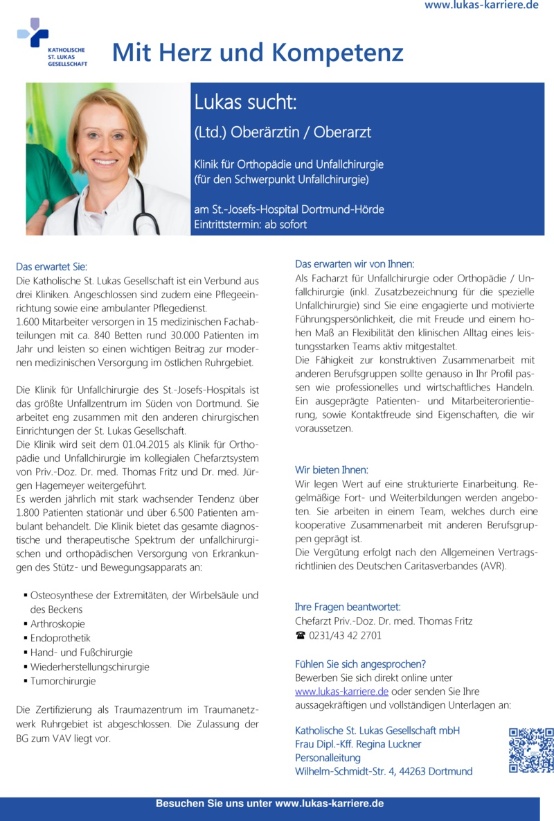 Stellenanzeige Assistenzarzt (m/w) Kliniken für Innere Medizin