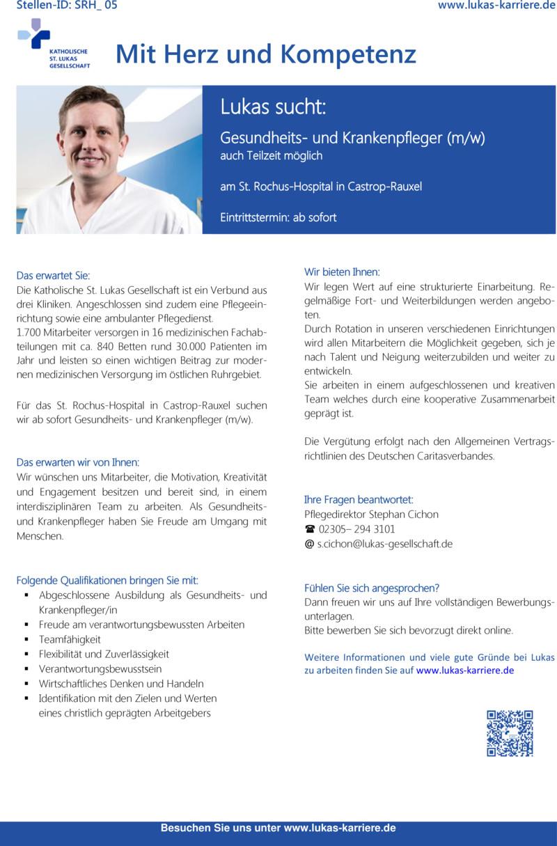 Stellenanzeige Gesundheits- und Krankenpfleger (m/w/d) für den Bereich Plastische Chirurgie