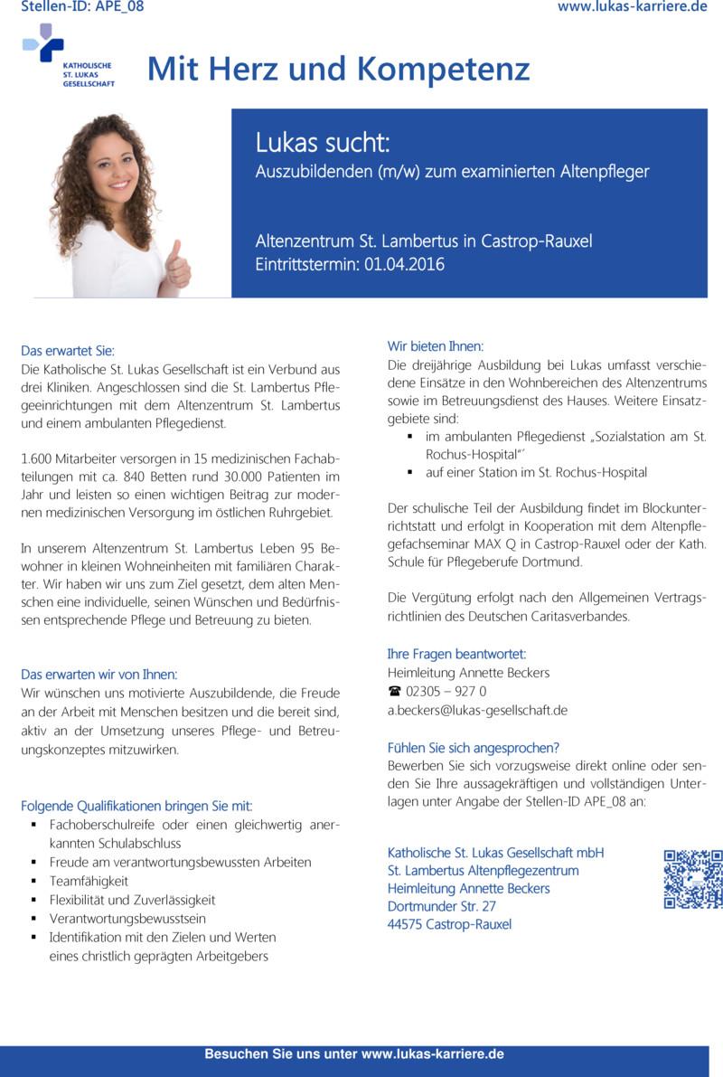 Stellenanzeige Pflegefachkraft (m/w/d) (APE_28)