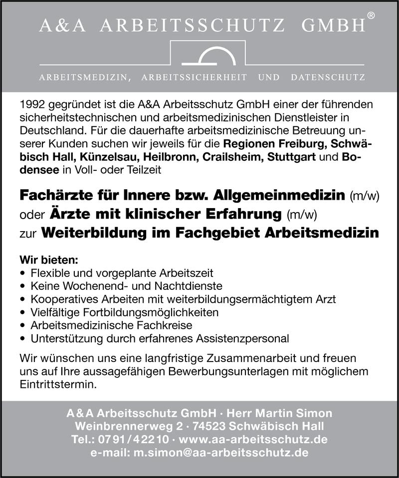 Stellenangebot Arzt in Weiterbildung (m/w) im Fachgebiet ...