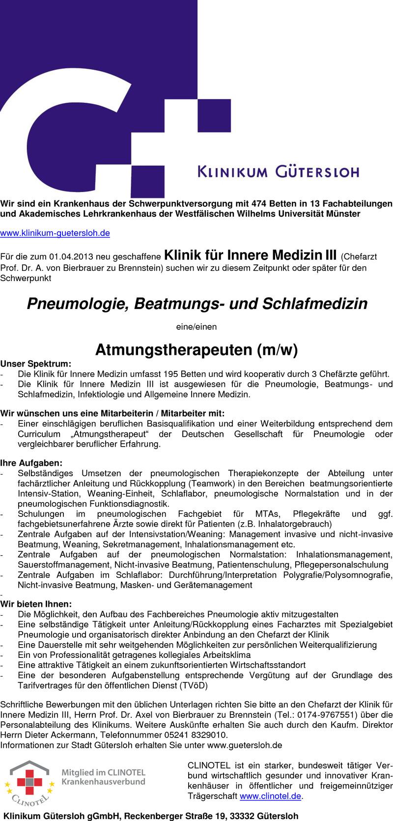 Stellenangebot Atmungstherapeuten (m/w) in Gütersloh - Job