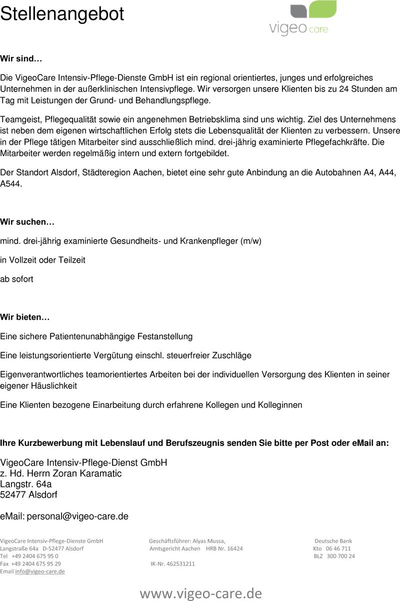 Stellenangebot examinierte Gesundheits- und Krankenpfleger (m/w ...