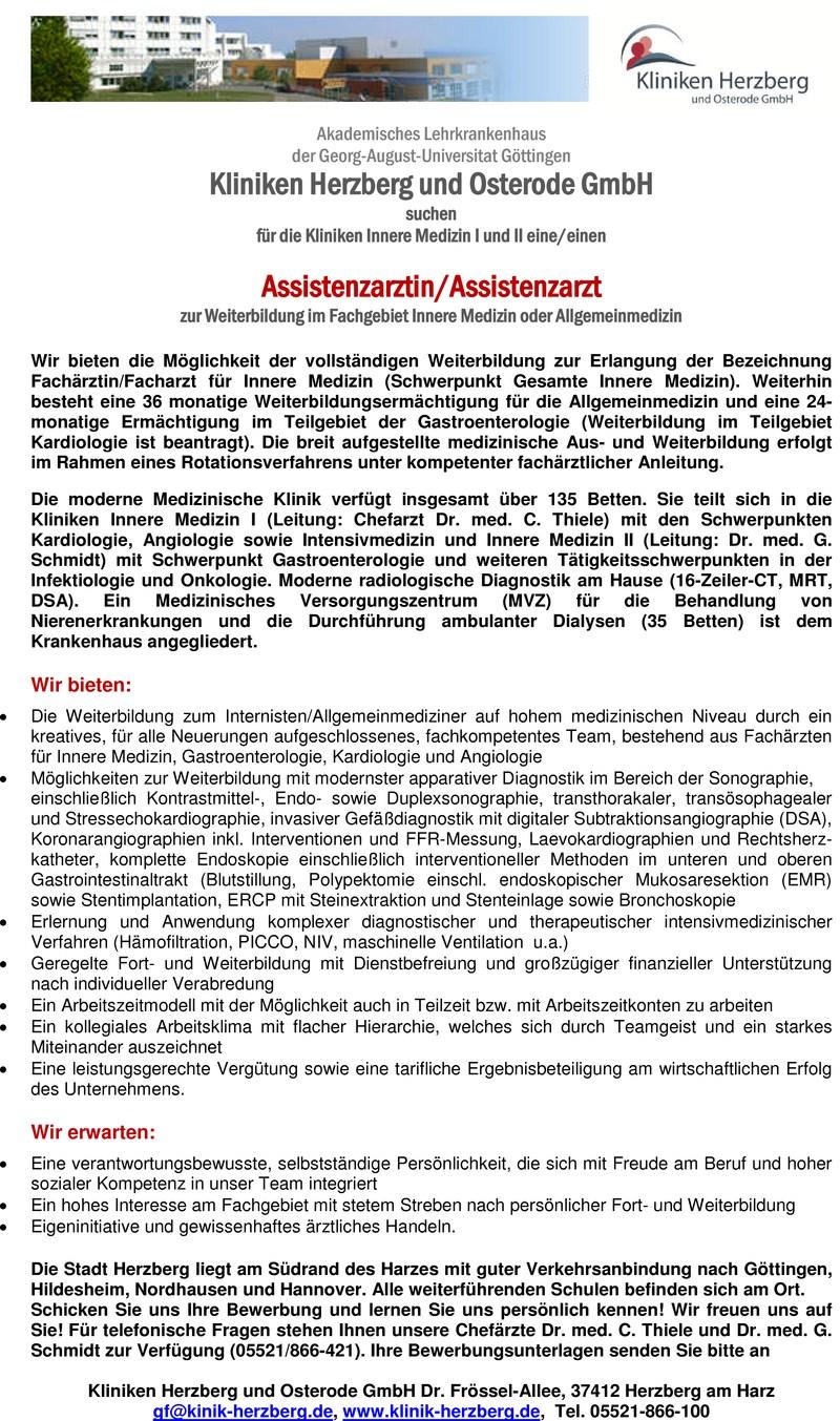 Stellenangebot Assistenzärztinassistenzarzt Innere Medizin In