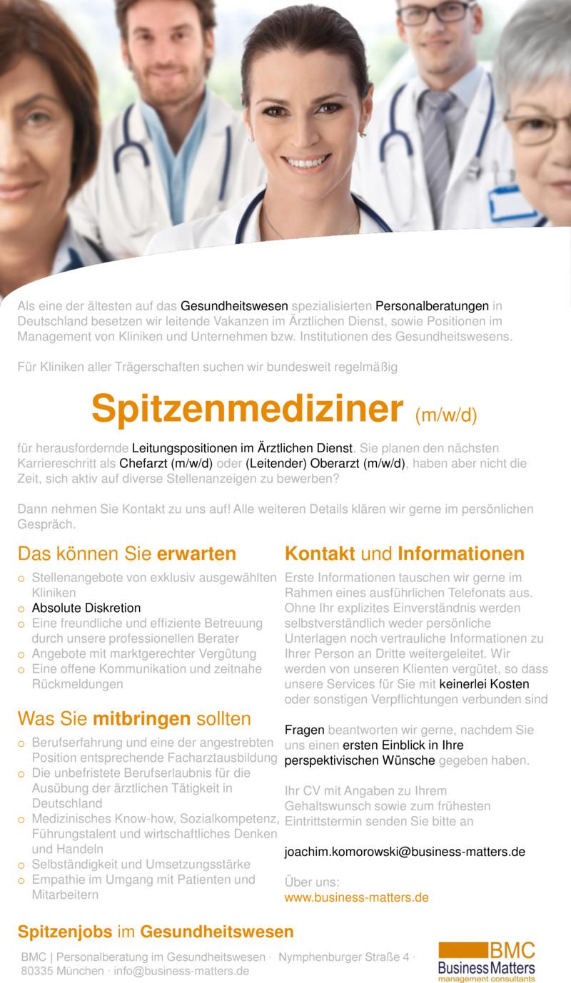 Stellenanzeige Chefärzte (m/w/d) und (Leitende) Oberärzte (m/w/d) für verschiedene Kliniken bundesweit (München, Berlin, Köln, ...) gesucht +++ Führende Personalberatung im Gesundheitswesen +++ Absolute Vertraulichkeit +++