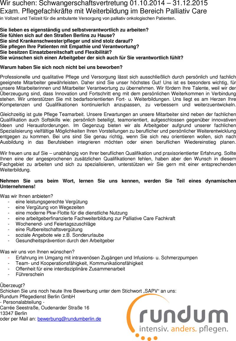 Stellenangebot: Schwangerschaftsvertretung für exam. Pflegefachkraft mit  Weiterbildung im Bereich Palliativ Care