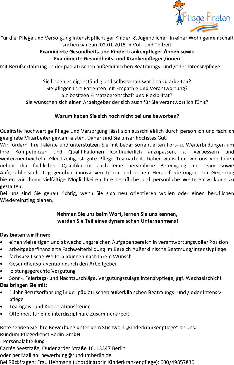 stellenangebot exam gesundheits und kinderkrankenpfleger innen in berlin job. Black Bedroom Furniture Sets. Home Design Ideas