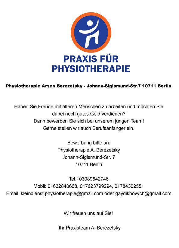 stellenanzeige physiotherapeutin ergotherapeutin - Bewerbung Physiotherapie