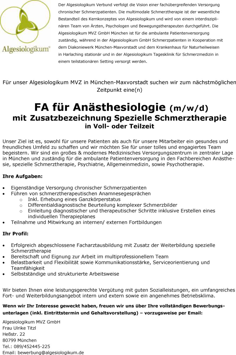 Stellenangebot Facharzt (m/w) Psychiatrie und Psychotherapie in ...