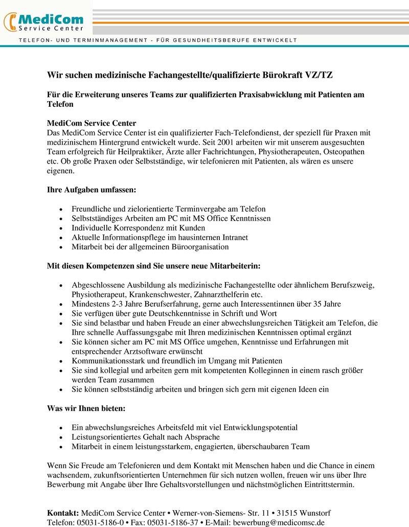 stellenanzeige medizinische fachangestelltequalifizierte brokraft vztz - Bewerbung Als Burokraft