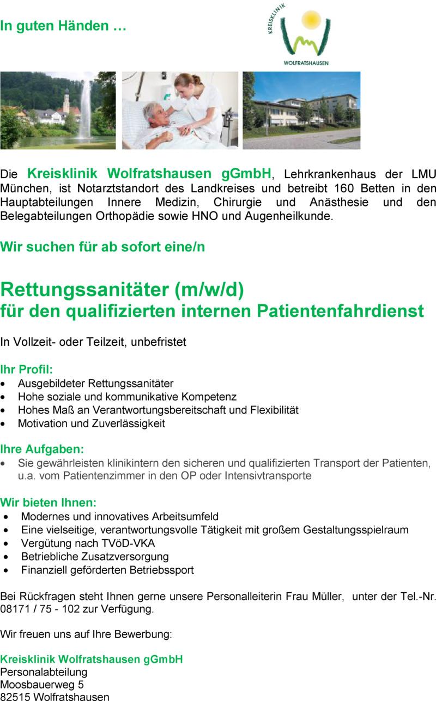 stellenangebot rettungssanitter fr den qualifizierten internen patientenfahrdienst - Bewerbung Rettungssanitater
