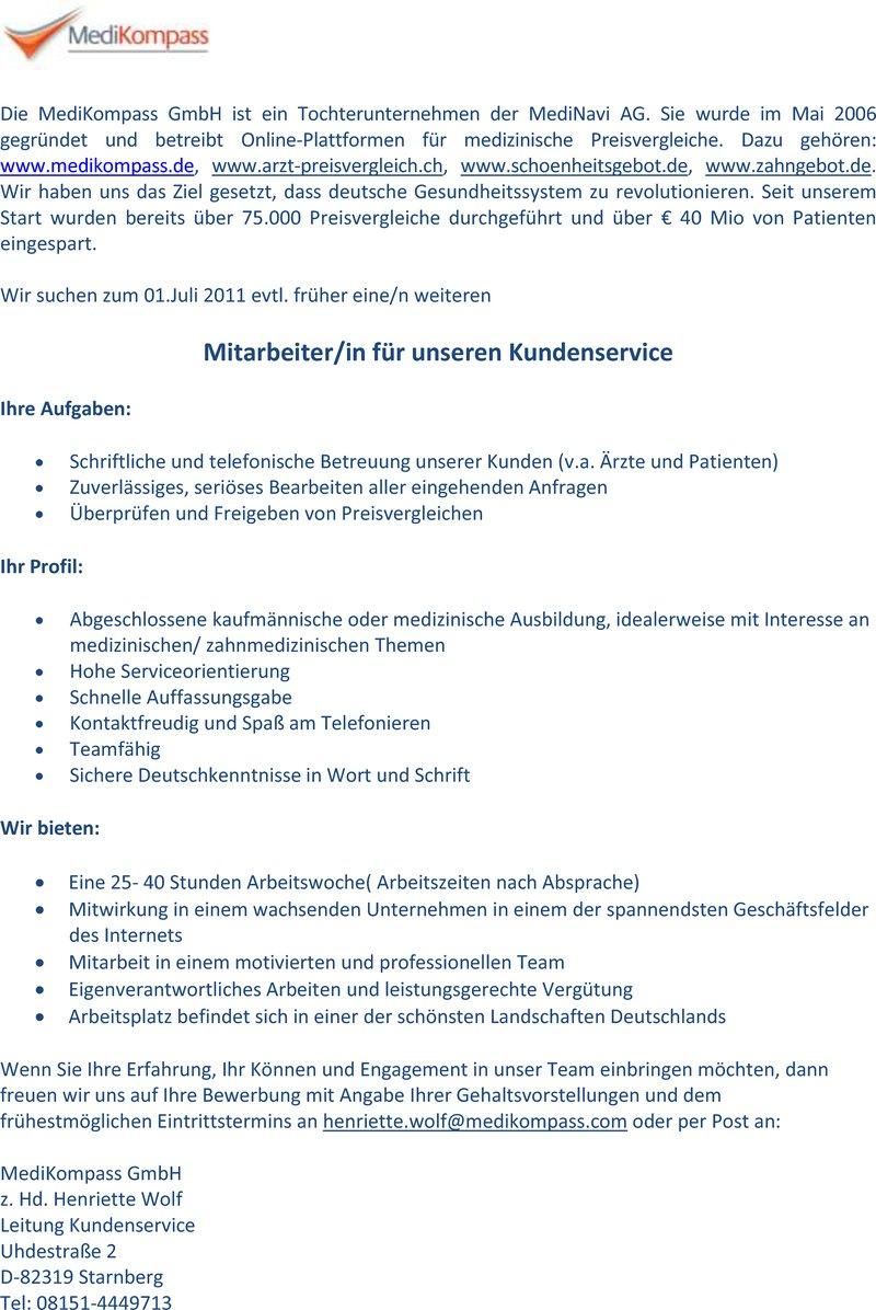 Stellenangebot Mitarbeiter/ in Kundenservice in Starnberg - Job