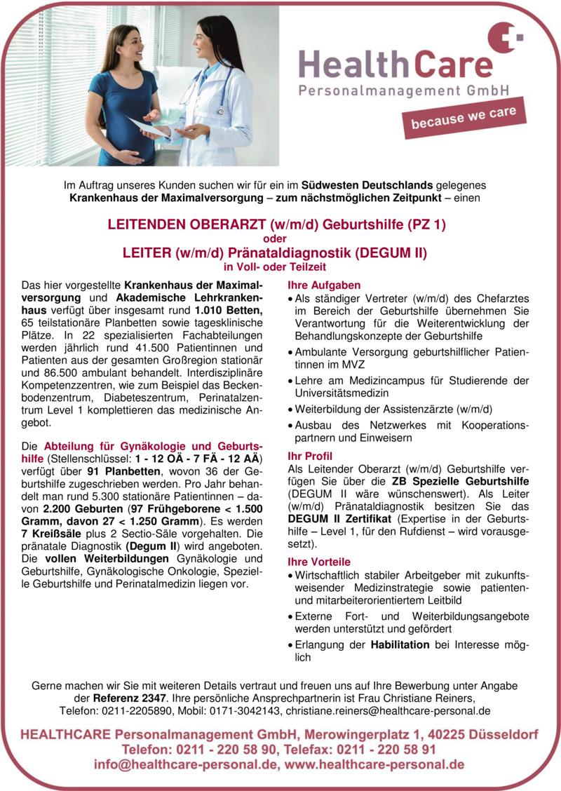 Stellenanzeige OBERÄRZTIN / OBERARZT Anästhesiologie