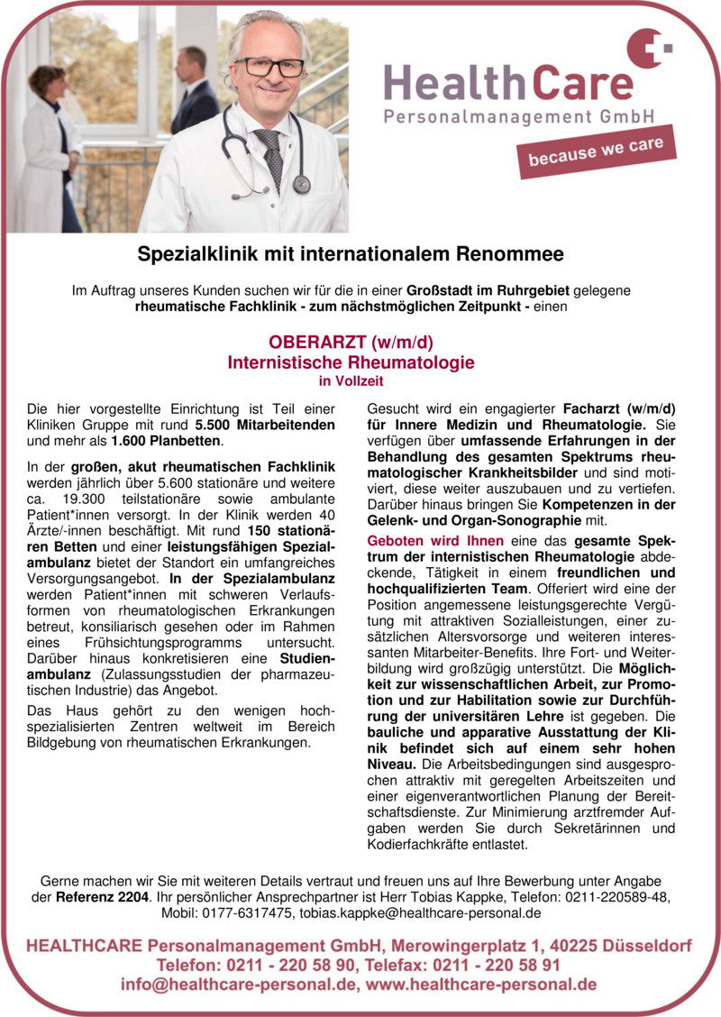 Stellenanzeige OBERARZT (w/m) Neurologie