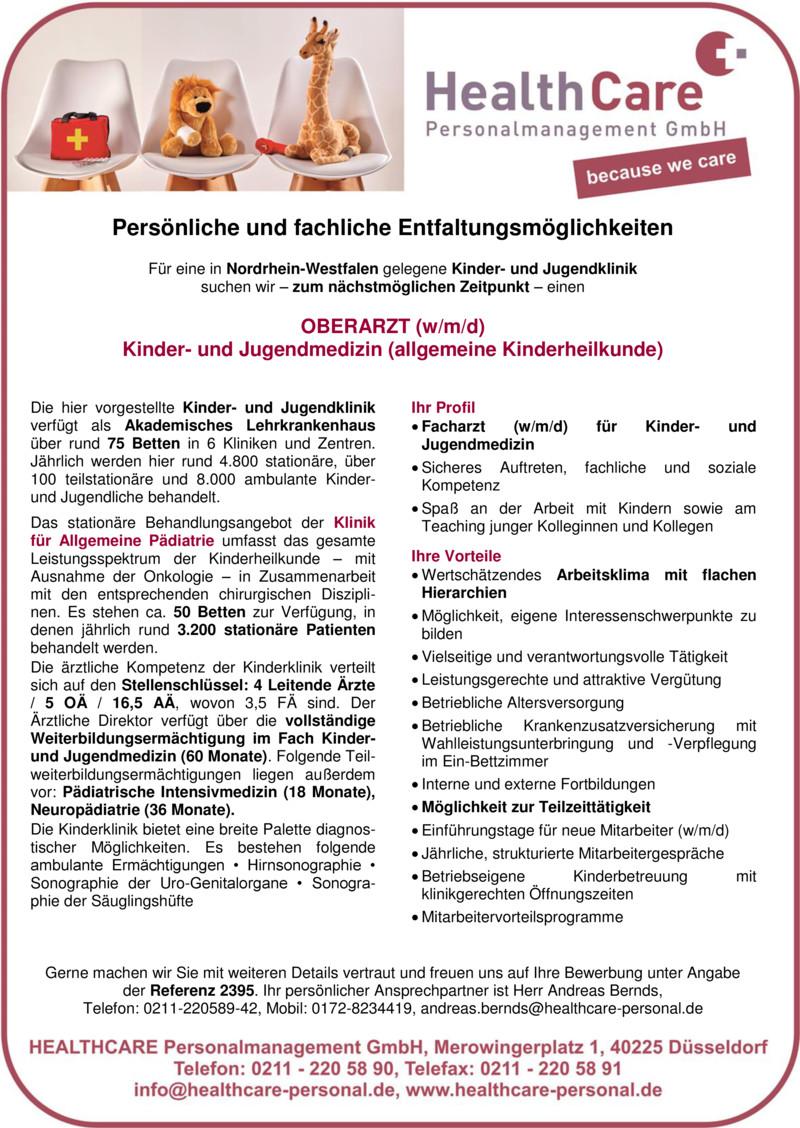 Stellenanzeige OBERÄRZTIN / OBERARZT Innere Medizin / Gastroenterologie