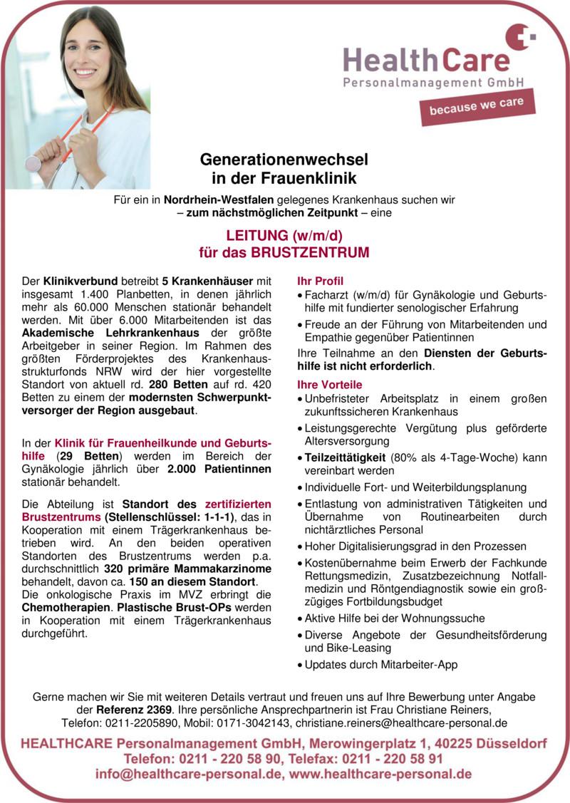 Stellenanzeige OBERARZT (w/m/d) Hämatologie und Internistische Onkologie
