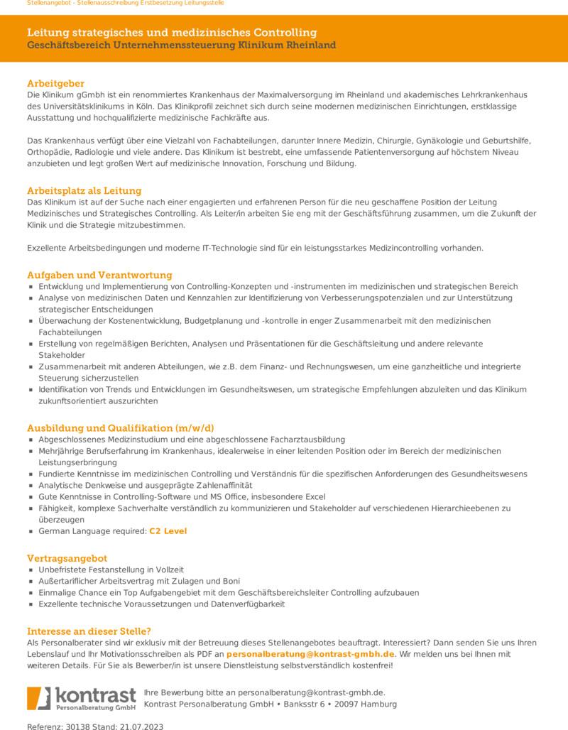 Stellenanzeige Facharzt - Fachärztin Innere Medizin - Internist - Internistin