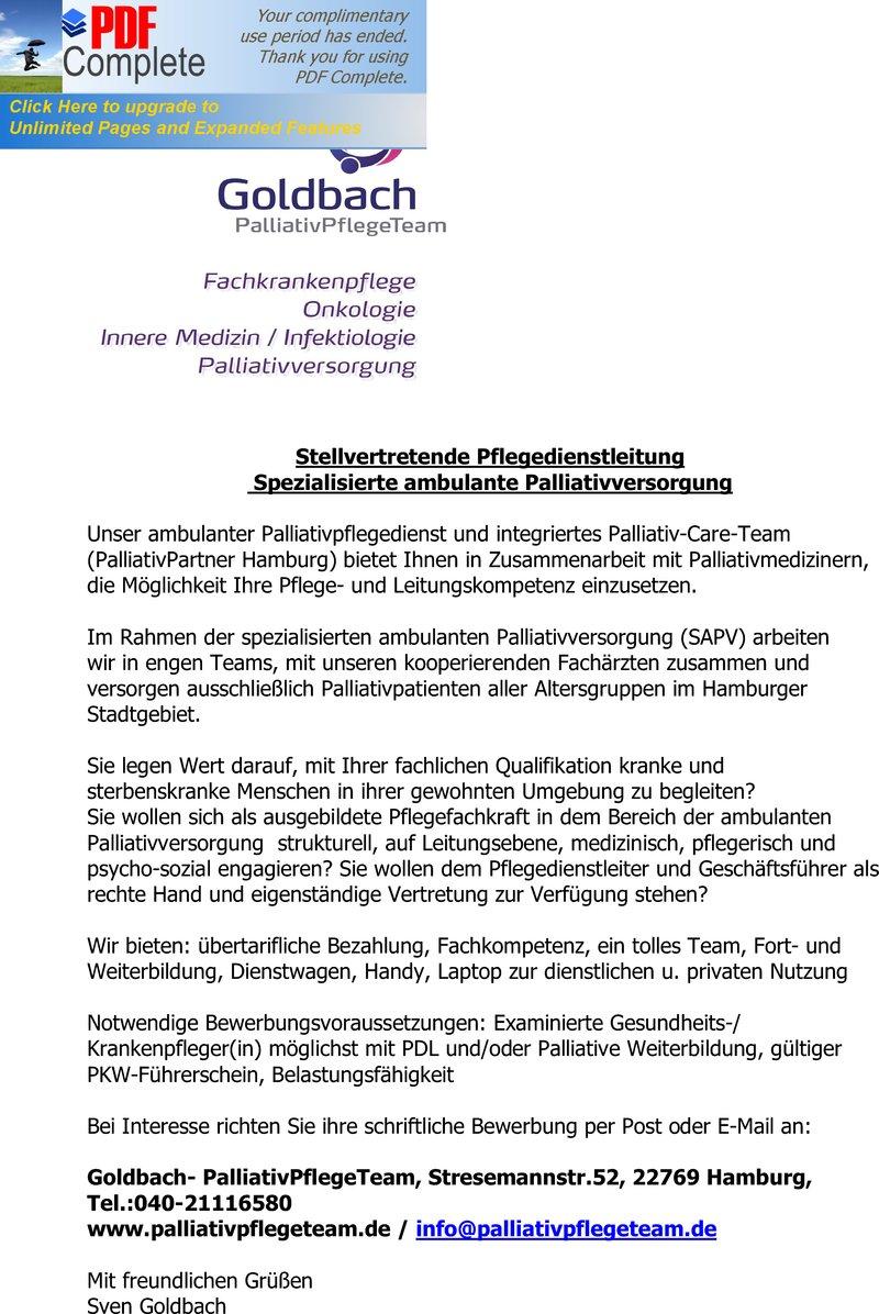 Stellenangebot Pflegedienstleitung (Stellvertretung) in Hamburg - Job