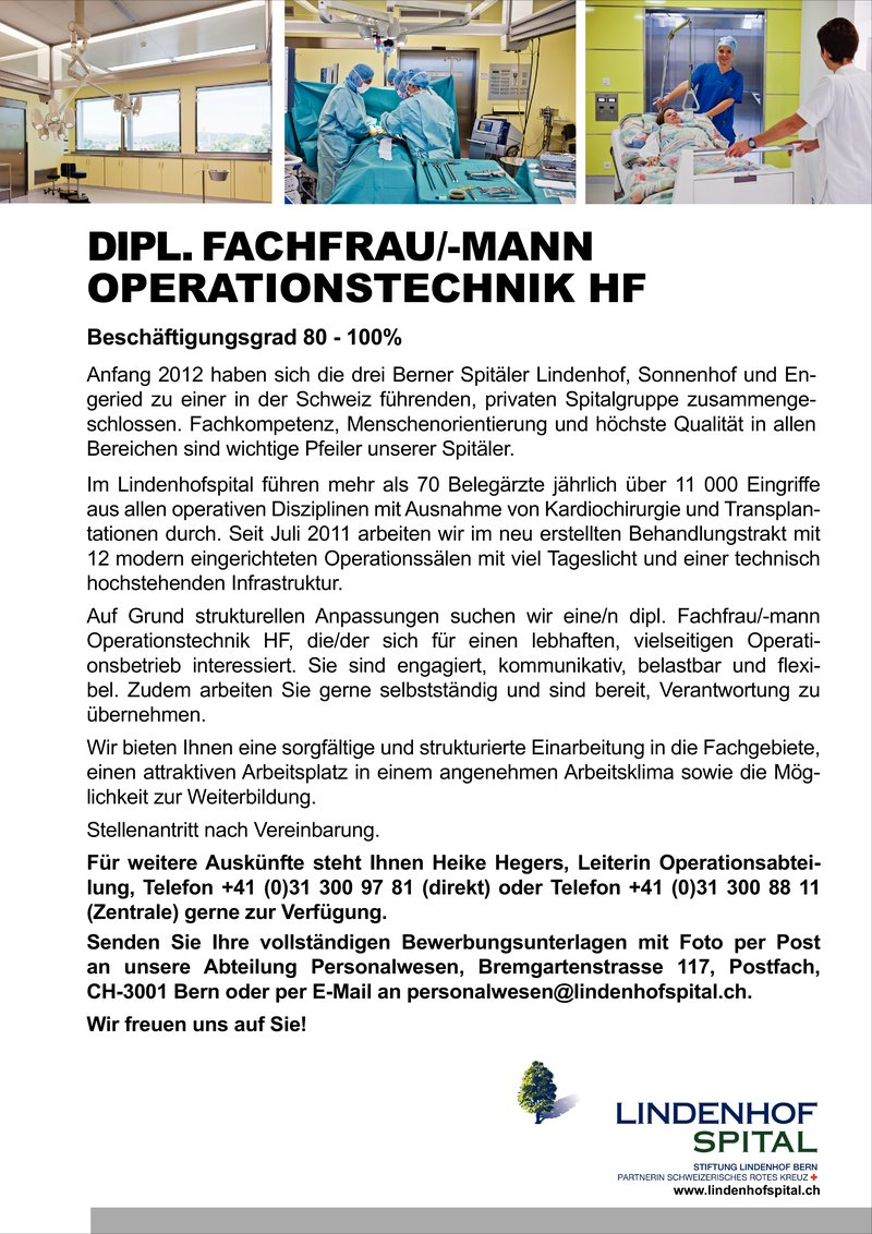 Stellenangebot Operationstechnischer Assistentin Od